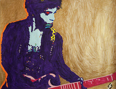 Painting - Purple Prince Pink Guitar by Stormm Bradshaw