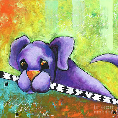 Painting - Purple Pup by Cindy DeGraw