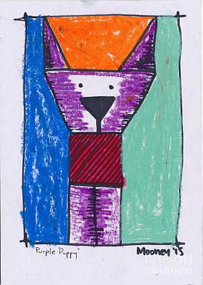 Purple Puppy Art Print by Michael Mooney