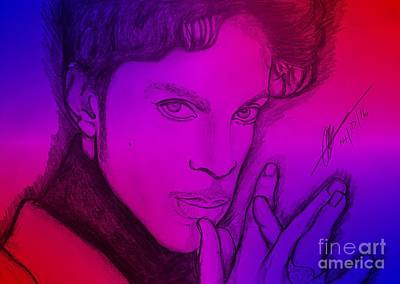 Musicians Drawings - Purple Rain 2 by Collin A Clarke