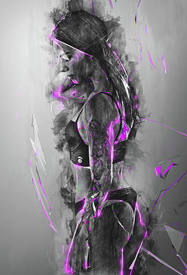 Meaning Of Life Mixed Media - Purple Rain Electric Beauty by Aota