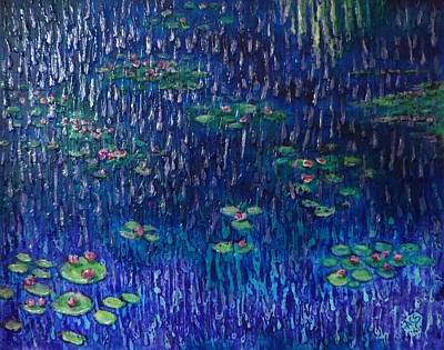 Painting - Purple Rain On Water Lilies by Amelie Simmons
