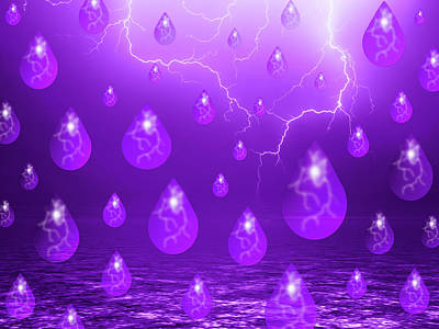 Lightning Mixed Media - Purple Rain by Shane Bechler