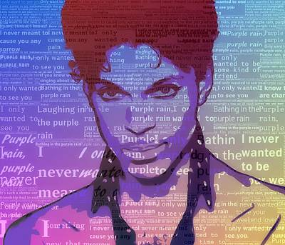 Mixed Media - Purple Rain Typography by Dan Sproul