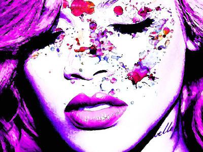 Rihanna Digital Art - Purple Rihanna by Alex Antoine
