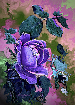Digital Art - Purple Rose Blossom by Artful Oasis