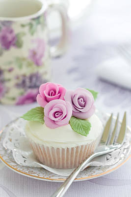 Fancy Plate Photograph - Purple Rose Cupcake by Ruth Black