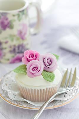 Purple Rose Cupcake Print by Ruth Black