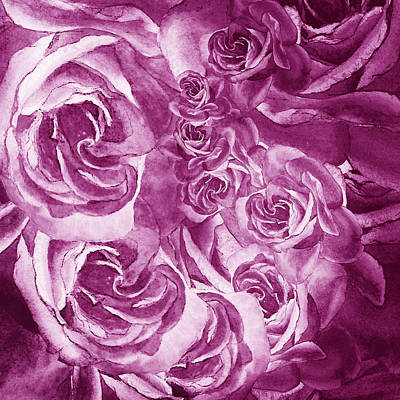 Royalty-Free and Rights-Managed Images - Purple Rose Petals Abstract  by Irina Sztukowski