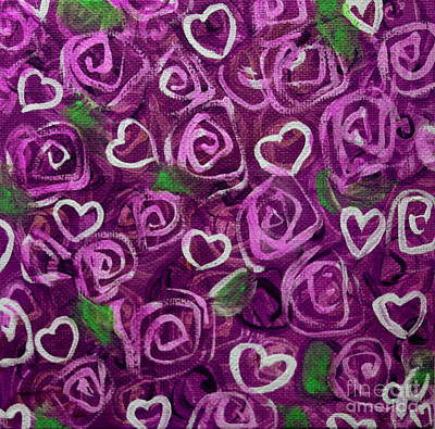 Painting - Purple Roses And Hearts by Jackie Carpenter