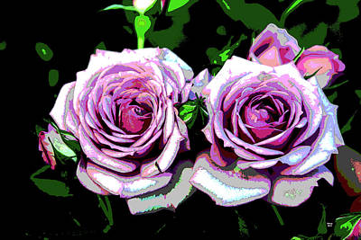 Mixed Media - Purple Roses by Charles Shoup