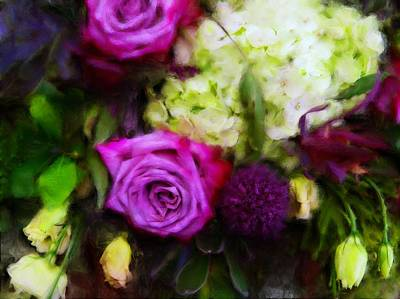 Digital Art - Purple Roses With Hydrangea by Sand And Chi