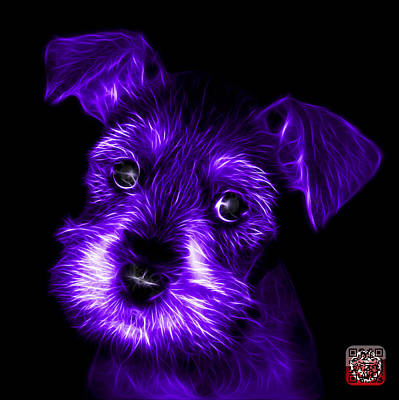 Digital Art - Purple Salt And Pepper Schnauzer Puppy 7206 F by James Ahn