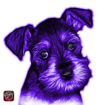 Digital Art - Purple Salt And Pepper Schnauzer Puppy 7206 Fs by James Ahn
