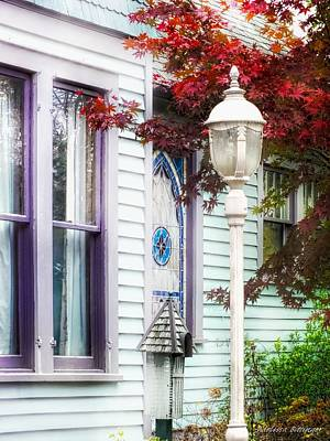 Photograph - Purple Sashes, Cottage Chic Architecture Windows by Melissa Bittinger