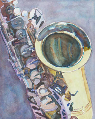 Purple Sax Art Print by Jenny Armitage