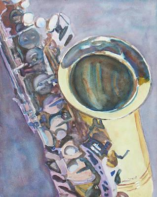 Jazz Painting - Purple Sax by Jenny Armitage