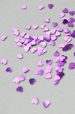 Photograph - Purple Scattered Hearts I by Helen Northcott