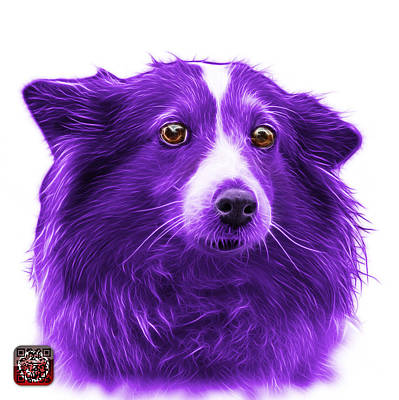 Mixed Media - Purple Shetland Sheepdog Dog Art 9973 - Wb by James Ahn