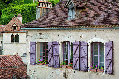 Photograph - Purple Shutters - Saint Cirq by Brian Jannsen
