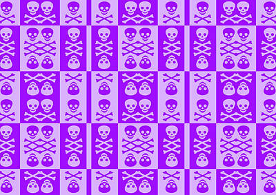 Digital Art - Purple Skull And Crossbones Pattern by Roseanne Jones