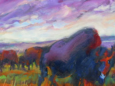 Painting - Purple Sky Buffalo by Les Leffingwell