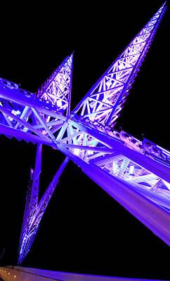 Flycatcher Mixed Media - Purple Skydance Bridge In Oklahoma City by Gina Dittmer