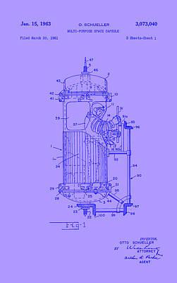 Purple Space Capsule Patent 1 Art Print by Arturo Granata