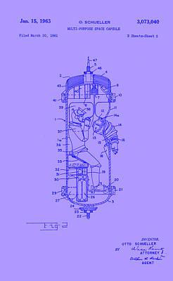 Purple Space Capsule Patent 2  Art Print by Arturo Granata