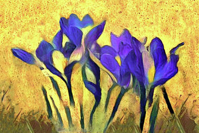 Mixed Media - Purple Spring Crocus Flowers by Susan Maxwell Schmidt