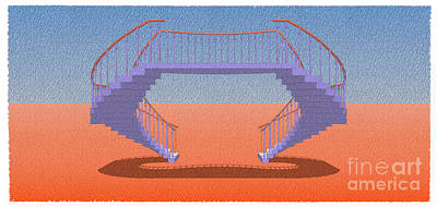 Empire State Drawing - Purple Stair 20 Orange And Blue Background by Pablo Franchi