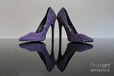 Stillettos Photograph - Purple Stiletto Shoes by Terri Waters