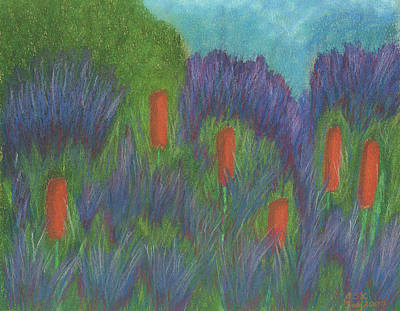 Pastel - Purple Strife And Cattails by Anne Katzeff