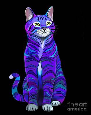 Digital Art - Purple Striped Cat by Nick Gustafson