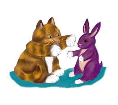 Digital Art - Purple Stuffed Bunny And Kitty by Ellen Miffitt
