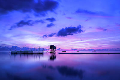 Photograph - Purple Sunrise Art - Morning Seascape Photography by Wall Art Prints