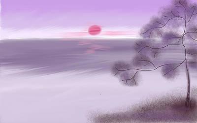 Digital Art - Purple Sunrise - Asian Painting by Eliza Donovan