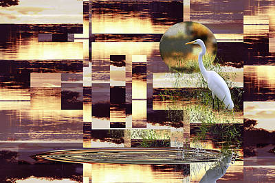 Photograph - Purple Sunset Abstract With Great Egret by rd Erickson