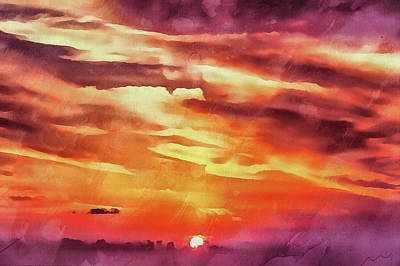 Digital Art - Purple Sunset by Michael Goyberg