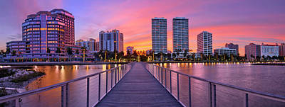 Photograph - Purple Sunset Over Downtown West Palm Beach Florida by Justin Kelefas