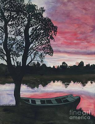 Purple Sunset With Boat Art Print by Patty Vicknair