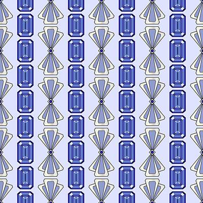 Digital Art - Purple Tanzanite Deco Stripe by MM Anderson