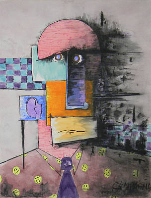 Painted Face Mixed Media - Purple Tie by Teddy Campagna