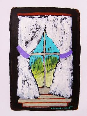 John M Williams Drawing - Purple Tiebacks by John Williams