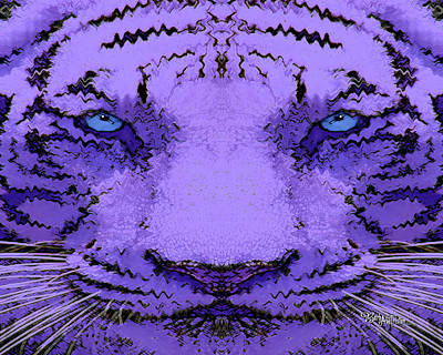 Digital Art - Purple Tiger #163 by Barbara Tristan