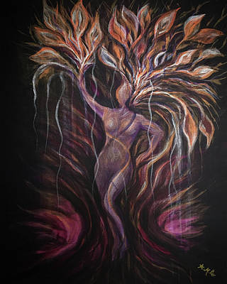 Painting - Purple Tree Goddess by Michelle Pier