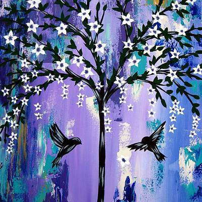 Plus Painting - Purple Tree Of Life by Cathy Jacobs