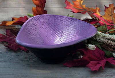 Ceramic Art - Purple Triangular Bowl by Suzanne Gaff