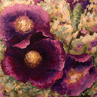 Painting - Purple Trio-flowers by Vali Irina Ciobanu