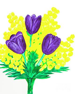 Painting - Purple Tulips And Mimosa by Irina Afonskaya